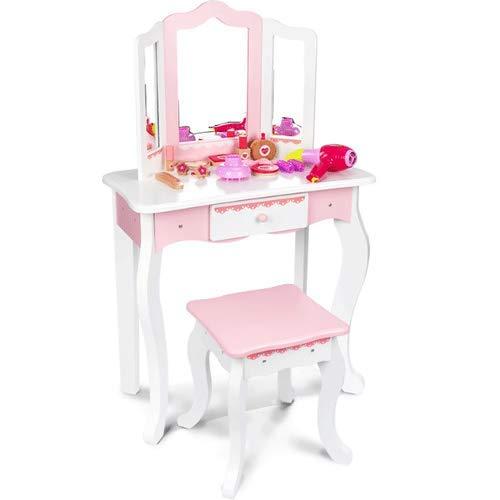 PETRLOY Toddler Fantasy Vanity Beauty Dresser Table Play Set , Set di specchietti da toeletta con Fantastici Accessori , Toilette Giocattolo , Gioco di finzione per Bambini di 2,3,4 Anni