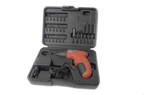 Destornillador Inalámbrico con 24 accesorios, funciona con una batería interna. Viene con su cargador