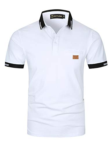 GHYUGR Poloshirts Herren Basic Kurzarm Baumwolle Polohemd Golf T-Shirt S-XXL,Weiß,L