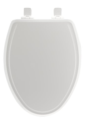MAYFAIR 1848SLOWB 000 Toilet Seat will Slow Close, Never Loosen and Easily Remove, Durable Enameled Wood, White