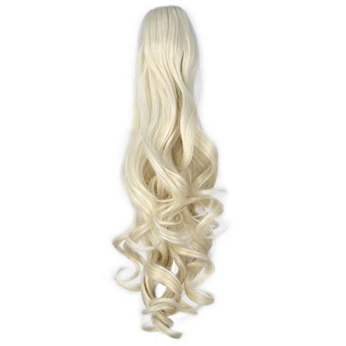 Miss U Hair Girl's 20' Long Curly Claw Jaw Ponytail Clip On Hair Extensions Hairpiece P10 (A08 Platinum blonde)