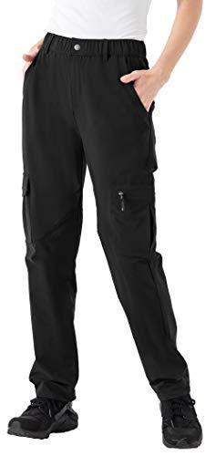 YSENTO Damen Outdoor Wanderhose Wasserdicht Schnelltrocknend Leichte UPF 50 Camping Arbeitshose Trekkinghose(Schwarz,XL)