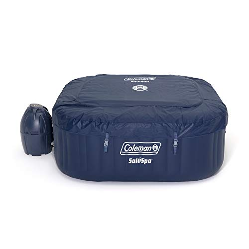 Coleman 90454 SaluSpa Hawaii 71-Inch x 26-Inch 4-Person Outdoor Portable Inflatable Square Hot Tub Spa with 114 Air Jets, Tub Cover, Chemical Floater and 2 Filter Cartridges, Blue