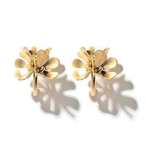 FEARRIN Pendientes Anillos de Moda Elegancia Flores Bonitas Pendientes Colgantes para Mujer Aleación de Color Dorado Metal Joyería Encantadora Accesorios de Regalo Oro