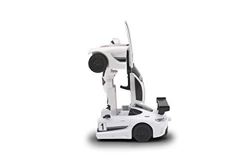 JAMARA 403117 - Mercedes-Benz AMG GT3 Die Cast transformable DieCast 1:32 - 2in1 Transformation zum Roboter oder Fahrzeug auf Knopfdruck, frei fahrende Räder, profilierte Gummireifen