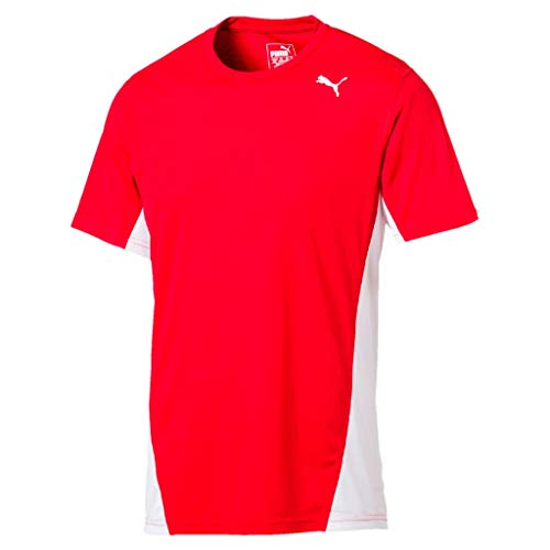 Puma Cross The Line Tee T-Shirt Homme, Red White, XS