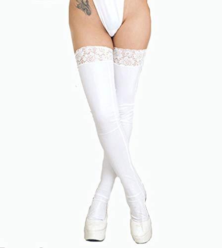 Latex Strümpfe Ledersocken Halterlose Overknee Sexy Lederstrümpfe Kniestrümpfe,Erotische Unterwäsche Lackleder Spitze Oberschenkelledersocken Socken für Erwachsene