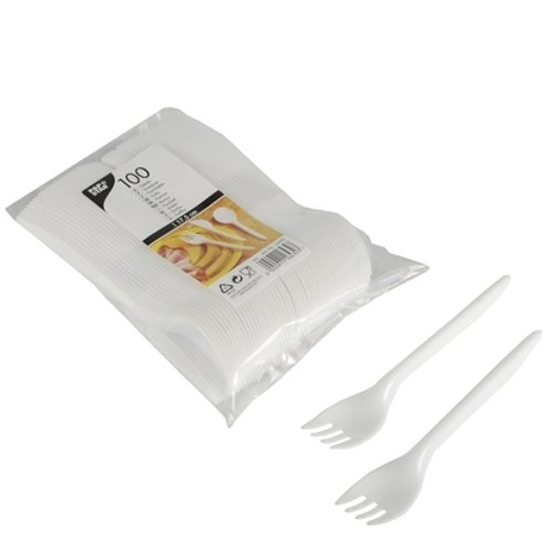 Papstar plastic vorkjes/wegwerpvorken wit (100 stuks) van polystyreen (kunststof), 17,5 cm lengte, klassieke vormgeving, goede stabiliteit, 16430