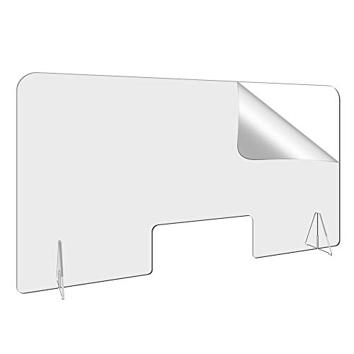 44' W-24' H Countertop Desk Sneeze Guard- Protective Partition, Plexiglass Shield Barrier for Coughing, Sneezing, Droplets - Acrylic Divider Panel