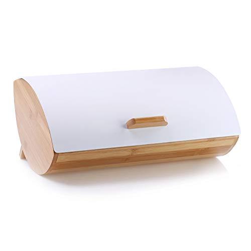 DecoKing 51467 Brotkasten aus Bambus und Stahl hochwertige aromadichte Brotbox Weiß Cosmic