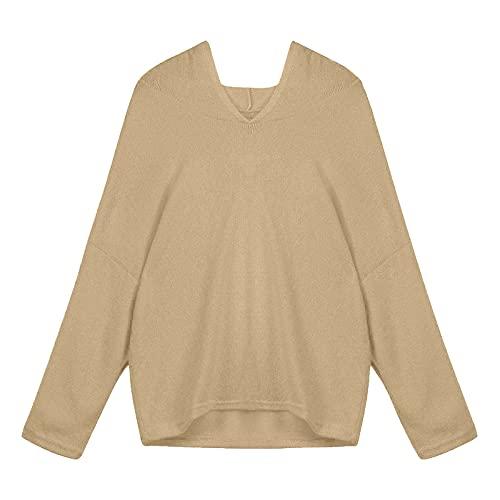티넬레스 여성 캐주얼 스웨터 패션 롱 슬리브 니트 풀오버 스웨터 컴피 솔리드 V 넥 후디