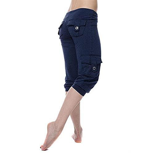 Fliegend Damen 3/4 Cargohose Yogahose Sporthose mit Taschen Frauen Freizeithose Capri Sommerhose Leicht Knielange Hose Lässig Haremshose L