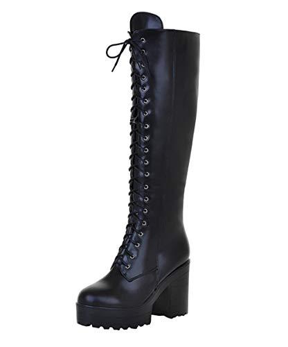 Blockabsatz High Heels Plateau Stiefel mit Schnürung und 10cm Absatz Winter Damenschuhe(Schwarz,38)