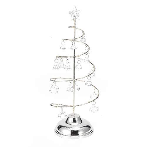 HERCHR Árbol de Navidad de Cristal con Cadena LED, Adorno en Espiral Pantalla de Metal Árbol de Navidad Luz de Noche con Colgante de Cristal Lámpara de árbol de Navidad Adorno Luz de Noche