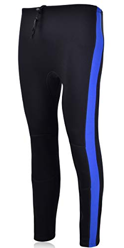 REALON Swim Tights Wetsuit Pants Women 3mm Neoprene and 2mm Men Youth Triathlon Outdoor Sport UV Suit Leggings Girls Boys Surfing Scuba Diving Snorkel (2mm Men/Blue Stripes, XL)
