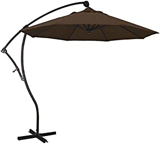 AstellaStyle 9' Olefin Teak Fabric Bronze Aluminum 8 Rib 360 Rotation Tilt Cantilever Offset Umbrella
