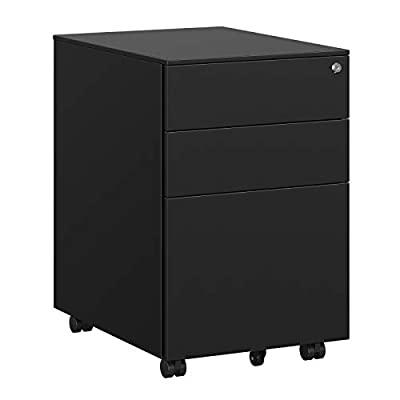 SONGMICS Steel File Cabinet with 3 Drawers, Lockable Steel Pedestal with Hanging File Rails