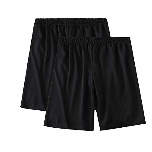 SAYFINE 2 Packs Men's Atheletic Shorts, Black Mens Workout Sport Active Loose-Fit Shorts (L, Black/Black)
