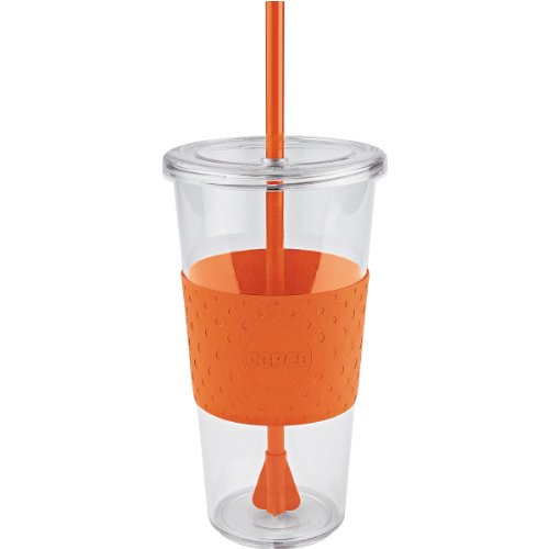 Copco 2510-9979 Sierra Single Wall Tritan Cold Tumbler with Removable Straw and Spill Resistant Lid, Orange