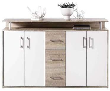 Con 1 estante abierto, 3 cajones y 4 cajones de puerta de bisagra,White Wood Color