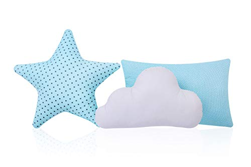 Amilian Juego de 3 cojines: estrella y nube, cojín decorativo con relleno para dormitorio, sofá, habitación infantil, niña, niño (SET4)