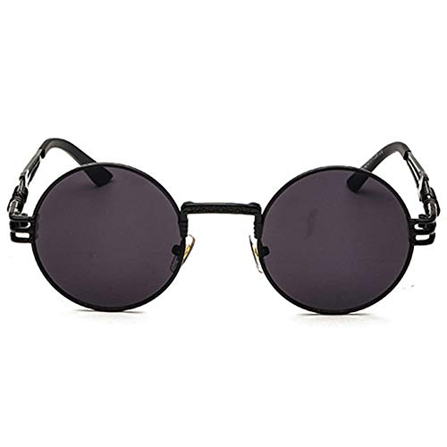 Yangmanini Personalidad Retro Steampunk UV400 Gafas De Sol Marco Redondo Tendencia Marco Negro Lente Gris Damas Gafas De Sol Hombres Viajan Disparador Automático