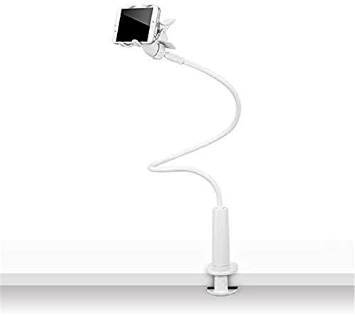 Deskside Flexible Phone Holder, Soporte para teléfono móvil Lazy Bracket, Soporte para teléfono móvil de Doble mandíbula de Escritorio de cabecera a presión con gestión de línea (Blanco)