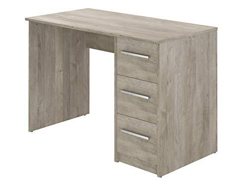 Movian, scrivania con 3 cassetti in stile moderno, modello Idro, 56 x 110 x 73,5 cm, Effetto Quercia