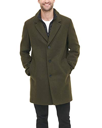 DKNY Men's Wool Blend Coat with Removable Quilted Bib, Olive, Large