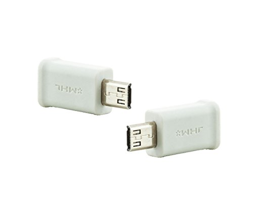 Saxonia [2 Stück] hochwertiger MHL Micro-USB Adapter 5pin Buchse zu 11 Pin Stecker (weiblich - männlich) Weiß