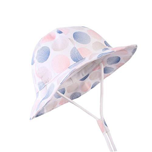 QQSA Sombreros Panamá de algodón para bebés y niñas, UPF 50+ para el sol, para la playa, al aire libre, para niños, cubo de pescador, gorra fina (color: azul cielo, tamaño: 52 cm)