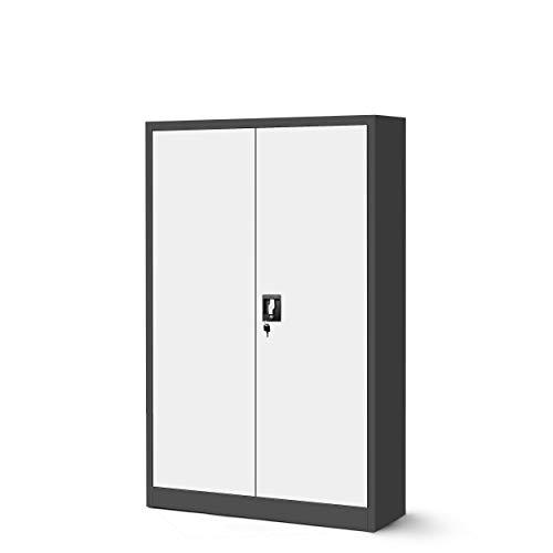 Jan Nowak Aktenschrank C001 Metallschrank Büroschrank Werkzeugschrank 3 Fachböden Stahlblech Flügeltüren Pulverbeschichtung 140 cm x 90 cm x 40 cm (anthrazit/weiß, 1)