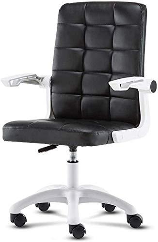DFJU Cadeiras de escritório de Couro Artificial, cadeira de trabalho ajustável e rotativa para computador com apoios de braço reversíveis, casa ou escritório, Mulheres, Homens, brancas
