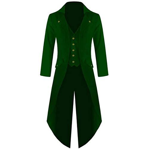 Song Chaqueta de FRAC Steampunk Vintage para Hombre, Levita Victoriana Gótica, Uniforme, Chaqueta de Disfraz, Chaqueta Larga Retro,Green-4XL
