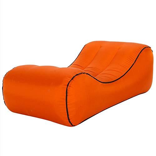 Lazy aufblasbares Sofa Nylon reißfestes Material tragbares Luftbett im Freien-Orange_S.