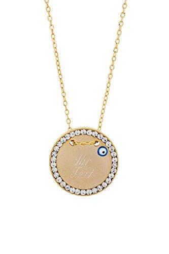 Remi Bijou Halskette MIT Gravur - Gravurplatte 2,5 cm mit Strasssteinen Blaues Auge Nazar Boncuk Gold Farbe