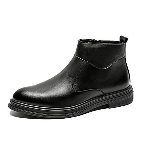 Botines de cuero para hombre Otoño Invierno Zapatos de negocios para vestir al aire libre Uso diario Cómodos Hombres Botas Chelsea informales