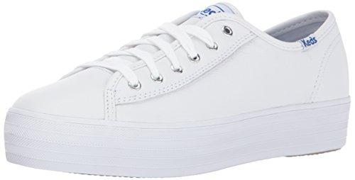 Keds Women's Triple Kick Leather Fashion Sneaker,White,5.5 M US