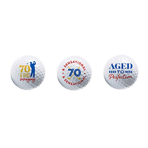 70th Birthday Gifts - Novelty Golf Ball 3 Pack - Great Gift for Golfers - Happy 70th Birthday Party Favors and Supplies - Display Golf Balls with Premium Graphics in Giftable Package