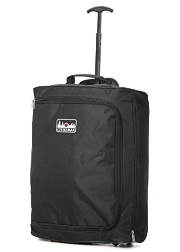 5 Cities Trolley Bag Hand Luggage, 55 cm, 42 Litre, Black