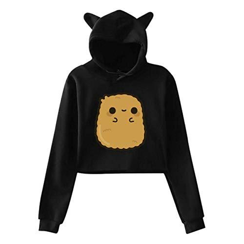 HappyHrs Frauen Mädchen Katze Ohr/Einhorn Pullover Hoodie Pullover Cute Chicken Nugget Langarm Crop...