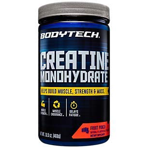 BodyTech 100 Pure Creatine Monohydrate 5GM Fruit Punch Improve Muscle Performance Strength Mass 165 Ounce Powder