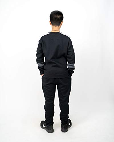 NOROZE Kids Girls Boys Tracksuit Contrast Panel Hoodie and Botoms Jogging Suit Sports Full Set (9-10 Years, Black)