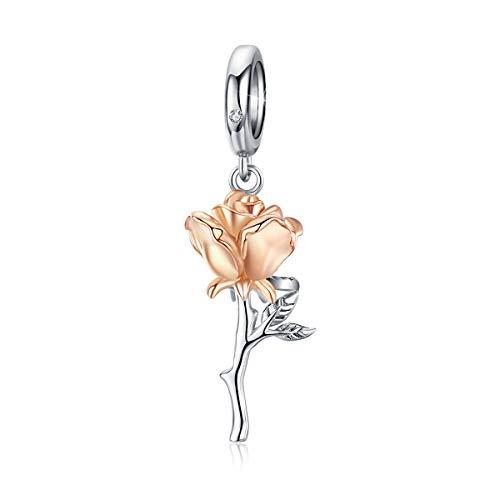 Charm 3D pendente a forma di rosa, in argento sterling 925, placcato oro rosa, compatibile con braccialetti e collane Pandora