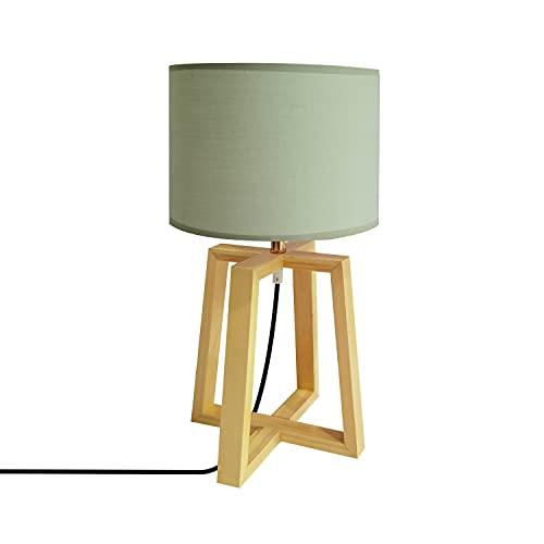 LEDKIA LIGHTING Lámpara de Mesa Korsade 460x250 mm Verde E27 Casquillo Gordo Téxtil - Madera...