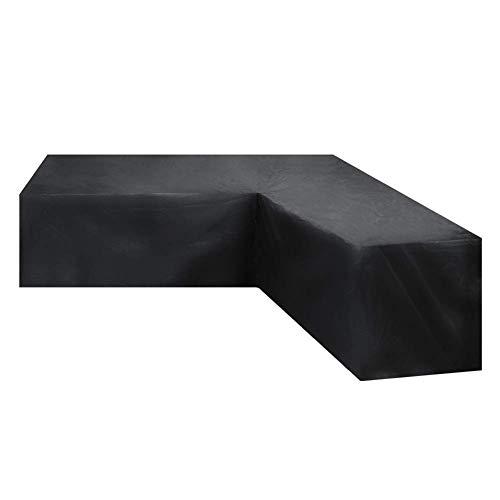 SEESEE.U - Funda para muebles de exterior, resistente, 215 x 215 x 87 cm, fundas para muebles de jardín, forma L, impermeable, protección contra la nieve, antidecoloración, para patio, color negro