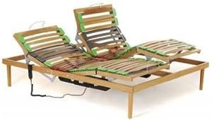 Somier de cama de matrimonio de madera de haya, regulable en cabeza y pies mediante motor - Medidas: 160 x 190 cm - lamas con amortiguación y basculantes
