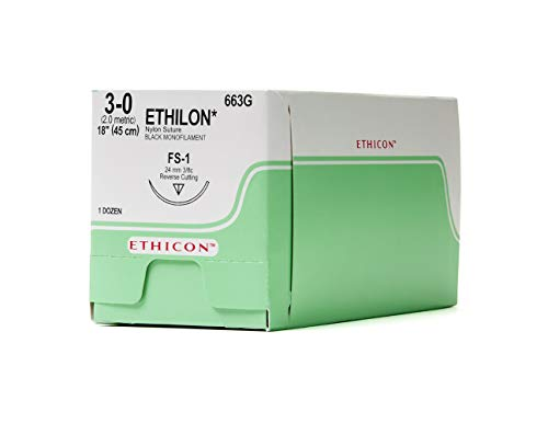 Ethicon ETHILON Nylon Suture, 663G, Synthetic Non-absorbable, FS-1 (24mm), 3/8 Circle Needle, Size 3-0, 18' (45 cm),Black