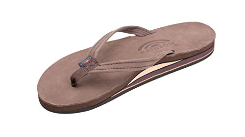 Rainbow Sandals Womens Premier Leather Double Layer Arch Narrow Strap - Expresso Medium / 6.5-7.5 B(M) US