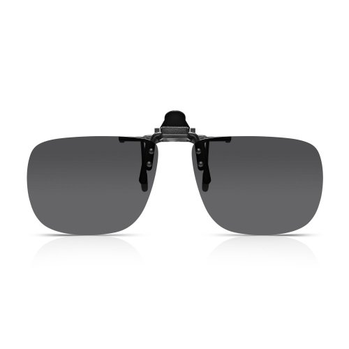 Read Optics Clip-On Sonnenbrille: Herren/Damen Flip-Up polarisierte Sonnen-Gläser für Brillen. Aufsatz für verschiedenste Brillen. 100% Schutz, graue getönte UV-400 Gläser aus bruchfestem Polykarbonat
